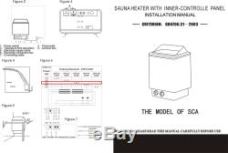 3KW Auto Sauna Stove Wet & Dry Electric Heater External Controller Body Spa 220V